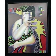Manuel MARTINEZ (né 1956), ROI DE COEUR, Acrylique / Toile.
