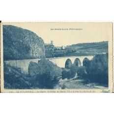 CPA: LE PUY-ESPALY, Les Orgues, le Chateau et le Pont, vers 1920