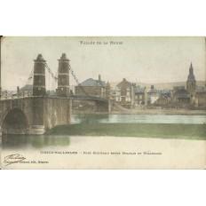 CPA - VIREUX-WALLERAND, Pont Suspendu entre MOHLHAIN et WALLERAND, Années 1900