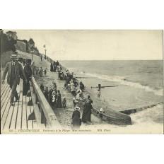 CPA: VILLERVILLE, Descente à la Plage, mer montante, Années 1910