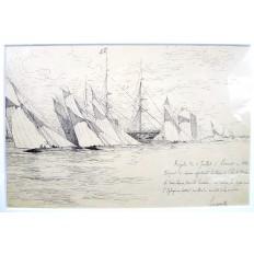 Charles LONGUEVILLE (1829-1899), Régates 1888, LORIENT, DESSIN.