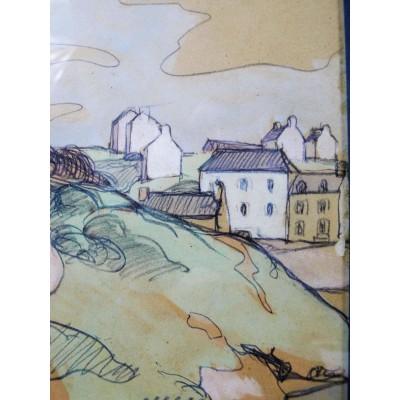 Jules LERAY (1875-1938), LES BARQUES à DOELAN, vers 1920, PASTEL & AQUARELLE.
