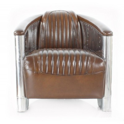 CLUB DESIGN AERONAUTIQUE Cuir Marron - Fauteuil cuir marron design