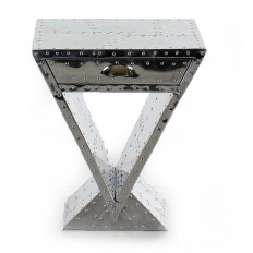 CHEVET ART-DECO TRIANGULAIRE ALU RIVETE.