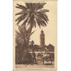 *CPA MAROC, ANNEES 1910, MARRAKECH, LA KOUTOUBIA, A TRAVERS LES PALMIERS.