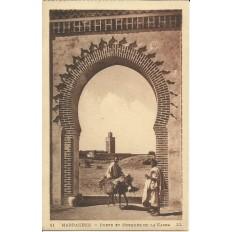 *CPA MAROC, ANNEES 1910, MARRAKECH, PORTE ET MOSQUEE DE LA KASBA.