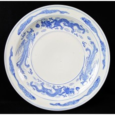 CHINE, GRAND PLAT BLANC/BLEU, PORCELAINE. CHINA, PORCELAIN DISH.