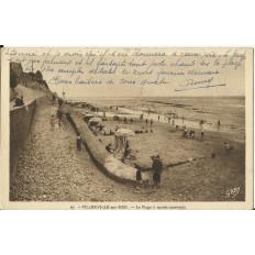 CPA - VILLERVILLE-sur-MER, La Plage à marée montante- Années 1930