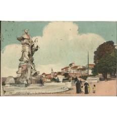 CPA: AUGOULEME, La Statue Carnot et le Rempart Desaix, vers 1920