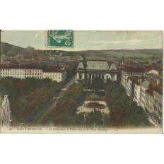 CPA: SAINT- ETIENNE, La Préfecture et Panorama de la Place Marengo, années 1900