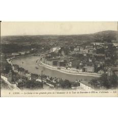 CPA: LYON, La Saone et vue Générale prise de la Tour de Fourvière, années 1910