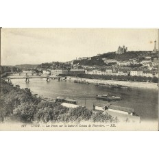 CPA: LYON, Les Ponts sur la Saone et Coteau de Fourvière, années 1910