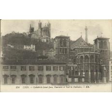 CPA: LYON, Cathédrale Sain-Jean, Fourvière et Tour de Fourvière, années 1910