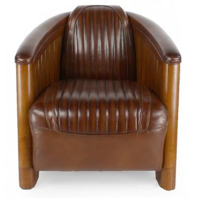 fauteuil club art deco esprit croisiere cuir brun. Black Bedroom Furniture Sets. Home Design Ideas