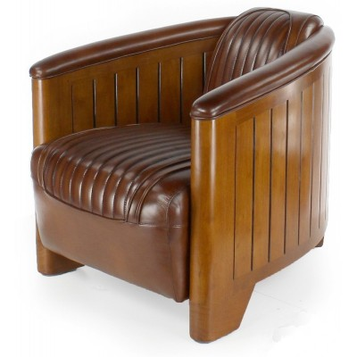 fauteuil club art deco esprit croisiere cuir brun. Black Bedroom Furniture Sets. Home Design Ideas