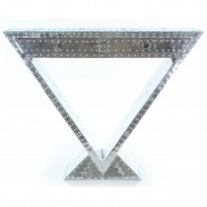 CONSOLE ART-DECO TRIANGULAIRE CARLINGUE ALUMINIUM.