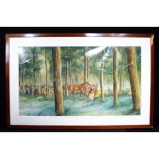 ART MILITAIRE, GRANDE AQUARELLE signée vers 1890, RALLYE