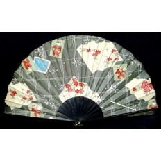 GRAND EVENTAIL 19e s. JAPON. FAN.ABANICO. SOIE IMPRIMEE. PRINTED SILK.