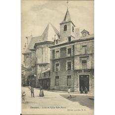 CPA: NEVERS, Lycée et Eglise Saint-Pierre, vers 1900