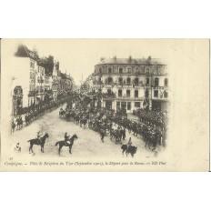 CPA: COMPIEGNE, Réception du Tsar, Départ de Revue, 1901.