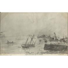 CPA: MARTINIQUE, St-Pierre, Aspect de la Rade après le désastre, 1902.