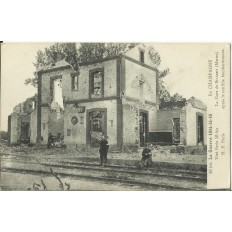 CPA: SILLERY, La Gare après bombardement (1914-18), années 1910