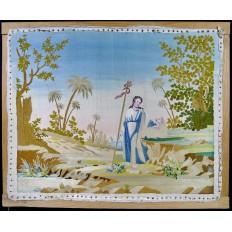 TABLEAU EN SOIE BRODEE, ECCE AGNUS DEI, 1ère MOITIE du XIXe s. EMBROIDERED SILK.