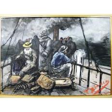 T.BIANCO, Les Voyageurs sur le pont (Marine), GOUACHE / ENCRE, vers 1890