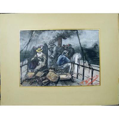 T.BIANCO, Les Voyageurs sur le pont (Marine), GOUACHE / ENCRE, vers 1900