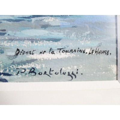 Patrice BORTOLUZZI (1950-2006), PAQUEBOT LA TOURAINE au HAVRE, AQUARELLE.